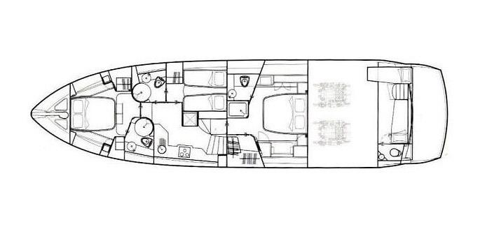 layout of yacht sunseeker manhattan 60